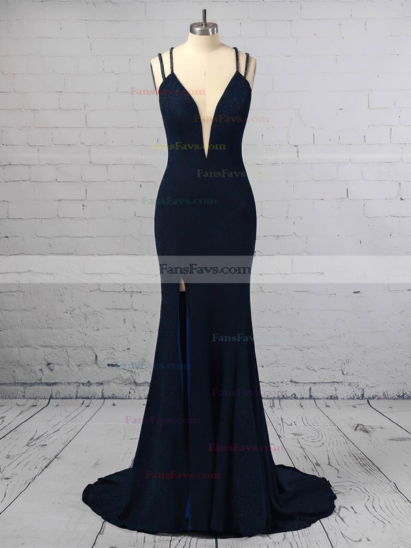 Trumpet/Mermaid V-neck Velvet Sweep Train Split Front Prom Dresses #Favs020106416