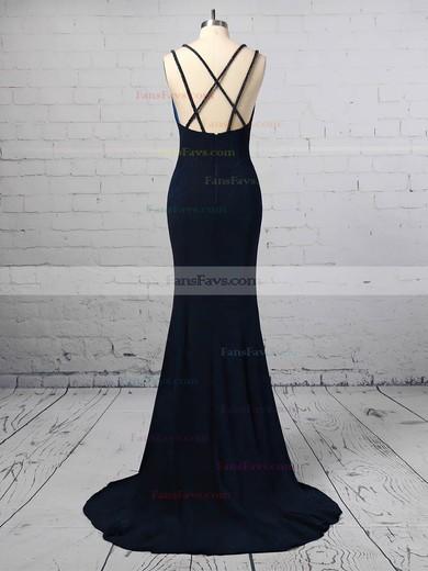 Trumpet/Mermaid V-neck Velvet Sweep Train Split Front Prom Dresses #Favs020106416