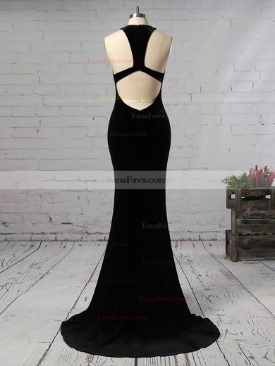 Trumpet/Mermaid V-neck Velvet Sweep Train Prom Dresses #Favs020105099