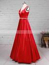 Princess V-neck Satin Floor-length Beading Prom Dresses #Favs020105875