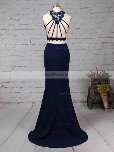 Sheath/Column High Neck Stretch Crepe Sweep Train Lace Prom Dresses #Favs020105921