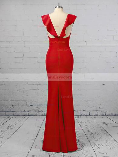 Sheath/Column V-neck Stretch Crepe Floor-length Prom Dresses #Favs020106415