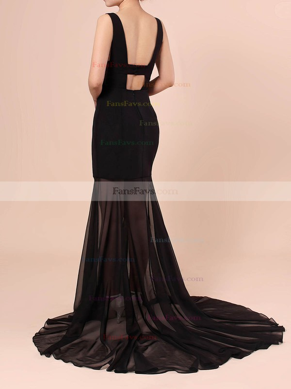 Trumpet/Mermaid V-neck Chiffon Stretch Crepe Sweep Train Split Front Prom Dresses #Favs020106420