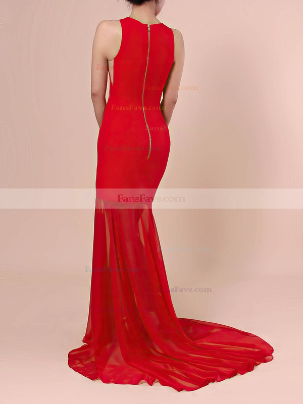 Trumpet/Mermaid Scoop Neck Chiffon Stretch Crepe Sweep Train Prom Dresses #Favs020106421