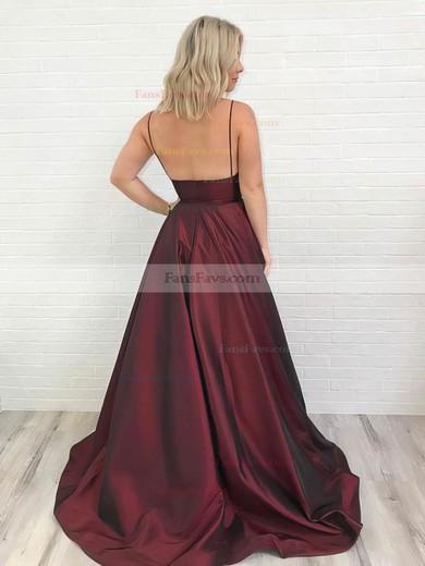 Princess V-neck Satin Sweep Train Pockets Prom Dresses #Favs020106434