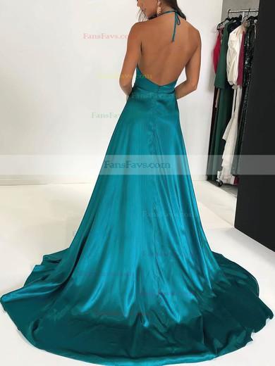 A-line Halter Silk-like Satin Sweep Train Split Front Prom Dresses #Favs020106435