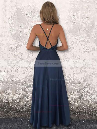 A-line Cowl Neck Silk-like Satin Floor-length Split Front Prom Dresses #Favs020106441