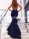 Trumpet/Mermaid V-neck Silk-like Satin Sweep Train Ruffles Prom Dresses #Favs020106442