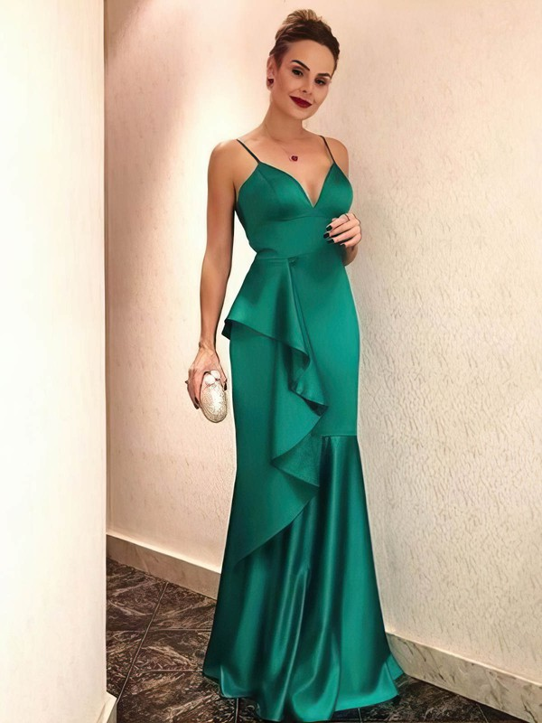 Sheath/Column V-neck Satin Floor-length Cascading Ruffles Prom Dresses #Favs020106444