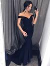 Trumpet/Mermaid Off-the-shoulder Silk-like Satin Sweep Train Prom Dresses #Favs020106447