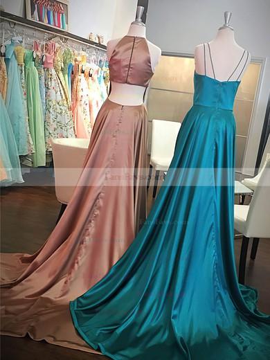 A-line Scoop Neck Satin Sweep Train Split Front Prom Dresses #Favs020106448