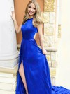 A-line Scoop Neck Satin Sweep Train Split Front Prom Dresses #Favs020106448
