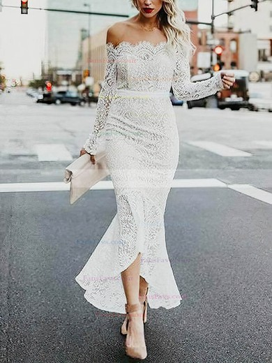 Trumpet/Mermaid Off-the-shoulder Lace Asymmetrical Sashes / Ribbons Prom Dresses #Favs020106450