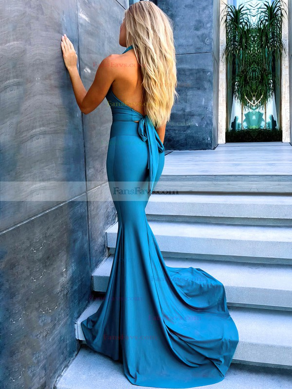 Trumpet/Mermaid Halter Jersey Sweep Train Ruffles Prom Dresses #Favs020106451