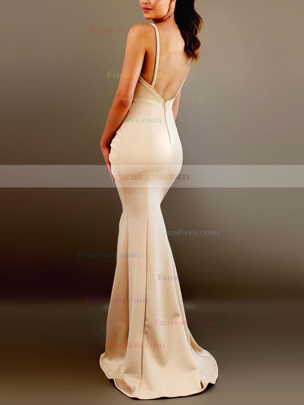 Trumpet/Mermaid V-neck Satin Floor-length Ruffles Prom Dresses #Favs020106453