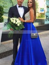 A-line V-neck Floor-length Satin Prom Dresses with Beading #Favs020102600