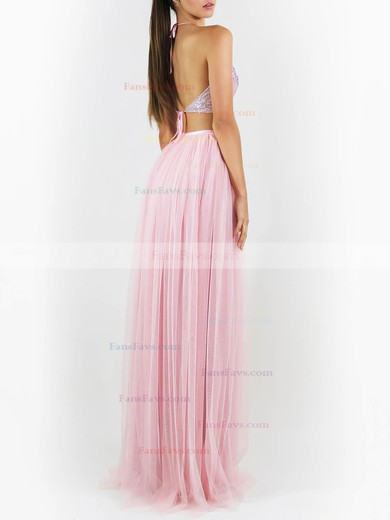 A-line Halter Tulle Sequined Floor-length Sequins Prom Dresses #Favs020106457