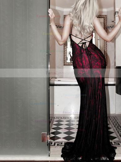 Sheath/Column Scoop Neck Lace Floor-length Prom Dresses #Favs020106460