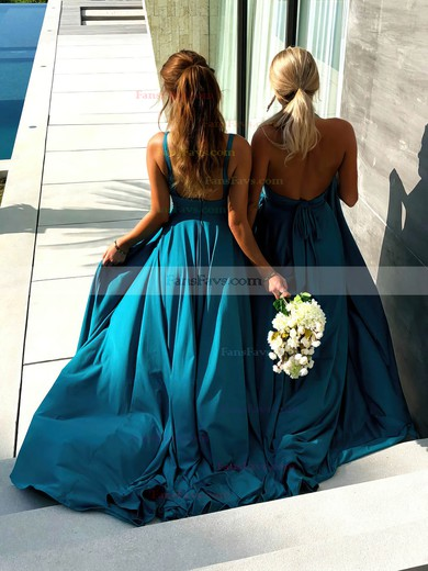 A-line V-neck Silk-like Satin Sweep Train Split Front Prom Dresses #Favs020106461