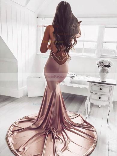Trumpet/Mermaid V-neck Silk-like Satin Sweep Train Ruffles Prom Dresses #Favs020106463