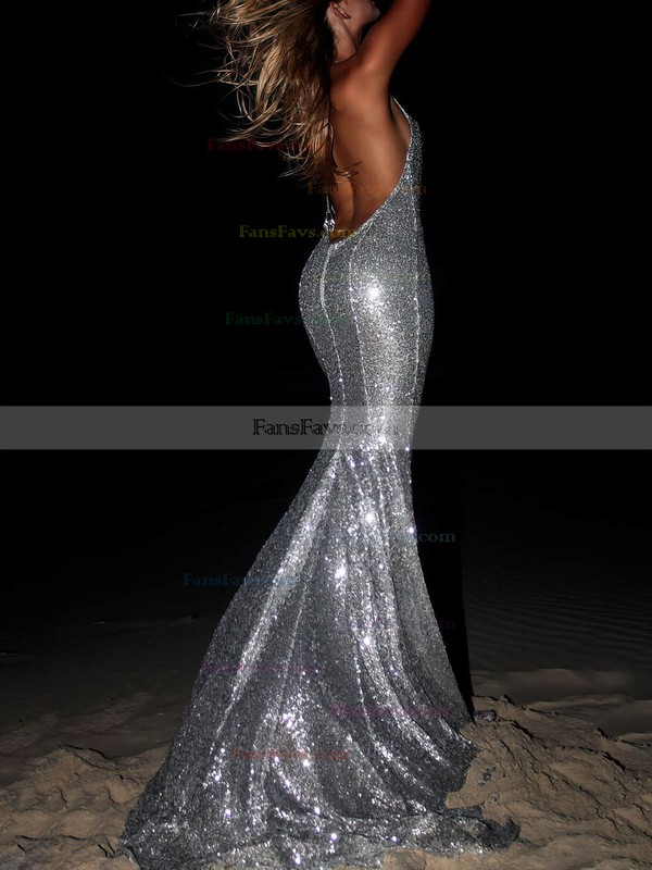Trumpet/Mermaid Halter Sequined Sweep Train Prom Dresses #Favs020106464