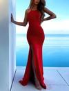 Trumpet/Mermaid Scoop Neck Silk-like Satin Sweep Train Split Front Prom Dresses #Favs020106465