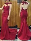 Trumpet/Mermaid Scoop Neck Silk-like Satin Sweep Train Appliques Lace Prom Dresses #Favs020102169