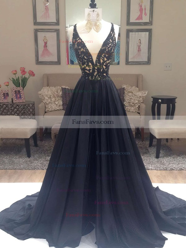 A-line V-neck Sweep Train Satin Prom Dresses with Beading #Favs020102608