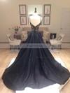 A-line V-neck Satin Sweep Train Beading Prom Dresses #Favs020102608