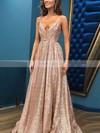 Princess V-neck Shimmer Crepe Floor-length Prom Dresses #Favs020106501