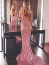 Sheath/Column V-neck Sequined Sweep Train Prom Dresses #Favs020106502