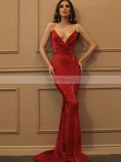 Trumpet/Mermaid V-neck Sequined Sweep Train Prom Dresses #Favs020106503