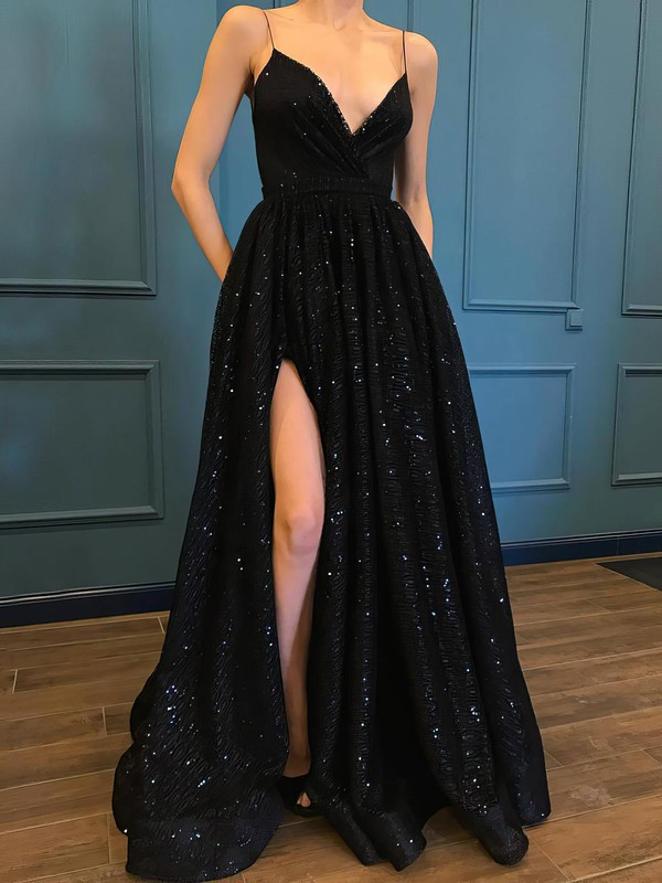 Ball Gown V-neck Glitter Sweep Train Pockets Prom Dresses #Favs020106505