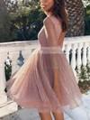 Princess Scoop Neck Glitter Knee-length Sashes / Ribbons Prom Dresses #Favs020106506