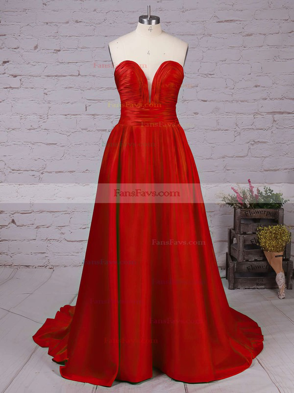 A-line V-neck Sweep Train Satin Prom Dresses with Ruffle #Favs020102672