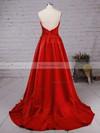 A-line V-neck Satin Sweep Train Ruffles Prom Dresses #Favs020102672