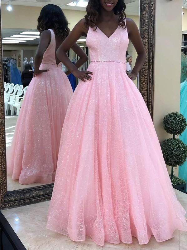 Princess V-neck Glitter Floor-length Beading Prom Dresses #Favs020106507