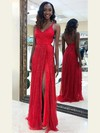 Sheath/Column V-neck Glitter Floor-length Split Front Prom Dresses #Favs020106508