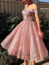 A-line Off-the-shoulder Glitter Tea-length Prom Dresses #Favs020106510