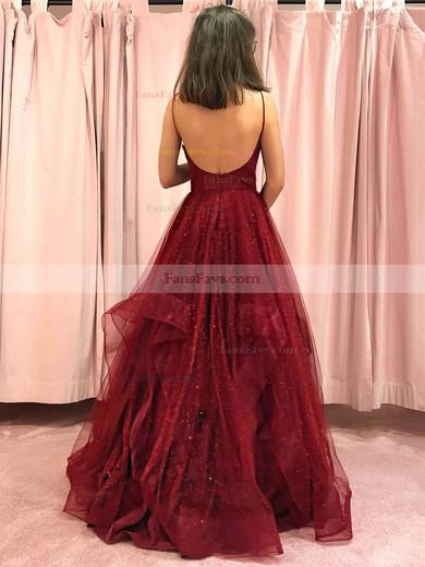 Princess V-neck Glitter Floor-length Cascading Ruffles Prom Dresses #Favs020106511