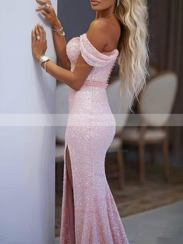 Trumpet/Mermaid Off-the-shoulder Shimmer Crepe Floor-length Sashes / Ribbons Prom Dresses #Favs020106513
