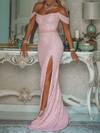 Trumpet/Mermaid Off-the-shoulder Shimmer Crepe Floor-length Sashes / Ribbons Prom Dresses #Favs020106513