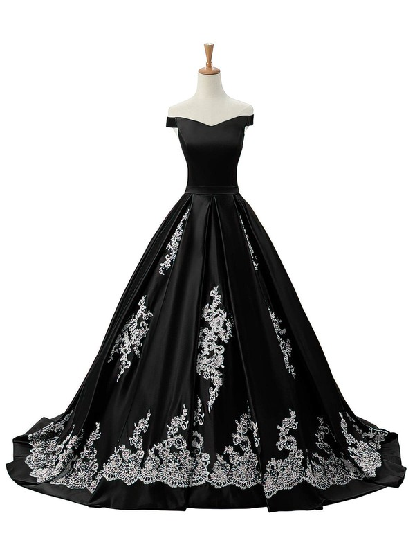 Ball Gown Off-the-shoulder Sweep Train Satin Appliques Lace Prom Dresses #Favs020102721
