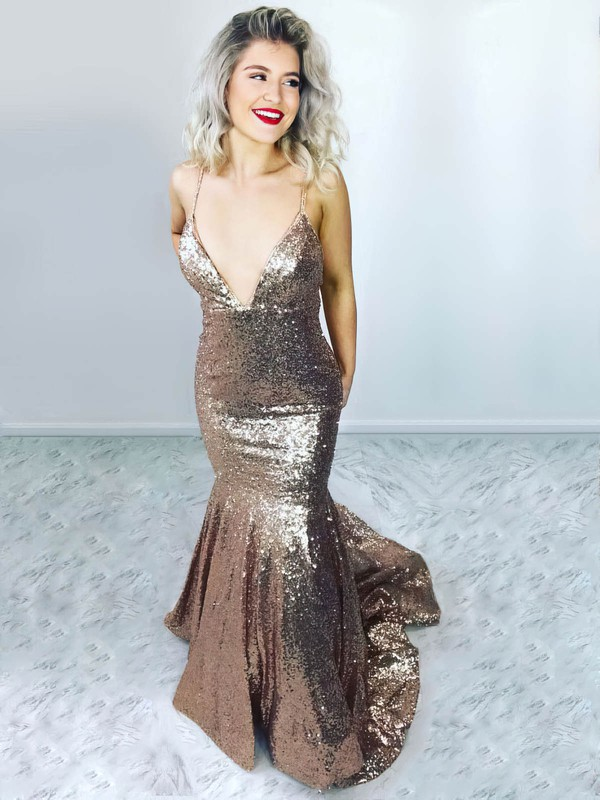 Trumpet/Mermaid V-neck Sequined Sweep Train Prom Dresses #Favs020106517