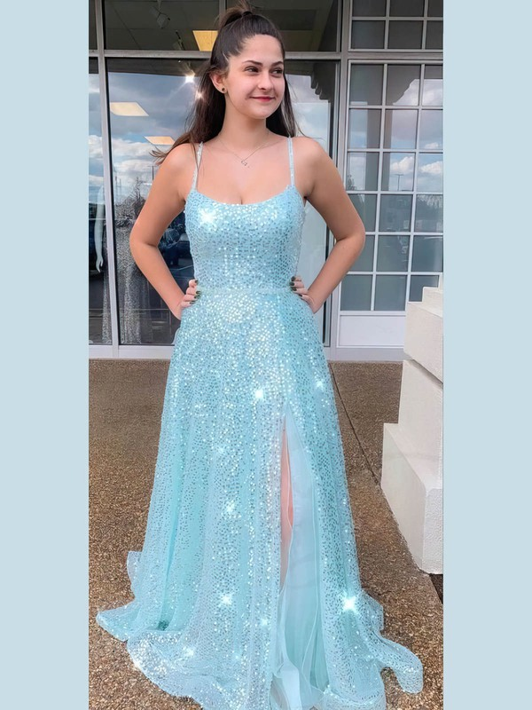 A-line Square Neckline Sequined Floor-length Split Front Prom Dresses #Favs020106518