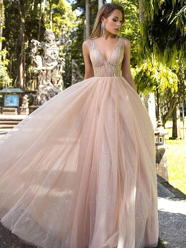 Princess V-neck Tulle Glitter Floor-length Beading Prom Dresses #Favs020106519