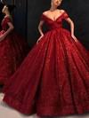 Ball Gown Off-the-shoulder Shimmer Crepe Floor-length Prom Dresses #Favs020106520
