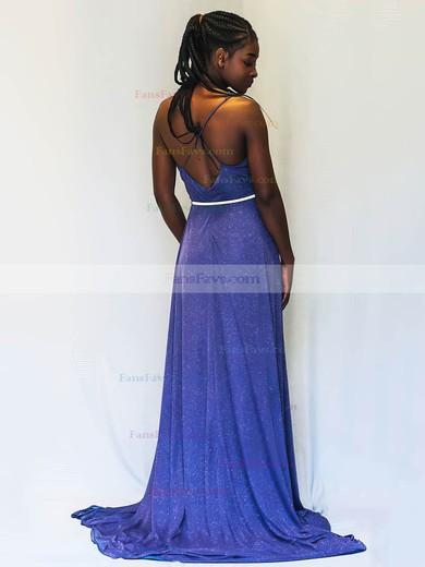 A-line V-neck Shimmer Crepe Sweep Train Sashes / Ribbons Prom Dresses #Favs020106521