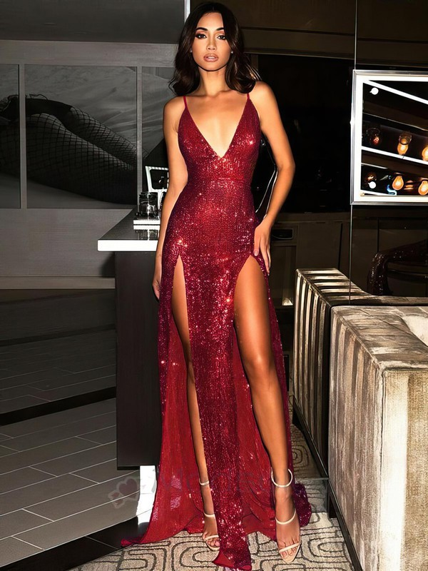 Sheath/Column V-neck Sequined Floor-length Split Front Prom Dresses #Favs020106522