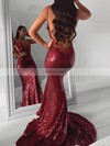 Trumpet/Mermaid V-neck Sequined Sweep Train Appliques Lace Prom Dresses #Favs020106523